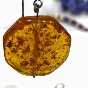 Vintage Sterling Silver Honey Amber earrings
